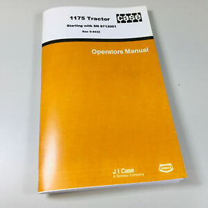 Case 1175 Tractor Operators Owners Manual Maintenance Book Lubrication More