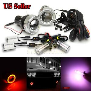 For Euro Cars 3 Projector Fog Lights red Led Angel Eyes 55w Slim 12000k Hid Kit