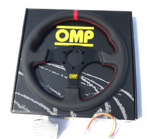 Omp 330mm Leather Flat Style Steering Wheel Racing Drifting Rally Red Strip