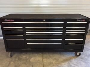 Snap On Kra2418 Triple Bank Tool Cabinet Black Used Top Mat And Liners Included