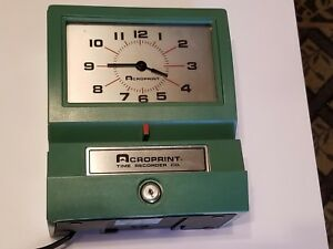 Acroprint Model 125nr4 Manual Time Recorder 011076411 Tested works No Key