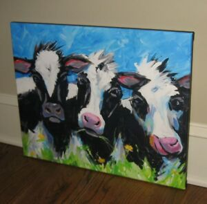 Happy Cow Canvas Picture Blues Blacks Farmhouse Primitive French Country Decor