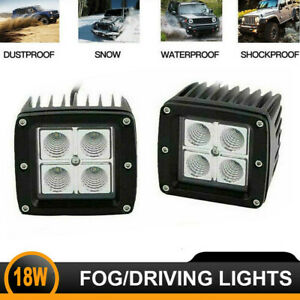 2x3inch Led Light Bars Offroad Pods Fog Lamp Square Driving Flood Auxiliary Lamp