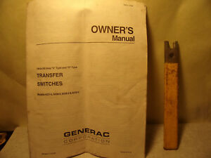 Generac Transfer Switch Owner s Manual Handle 100 200 Amp V Y Type