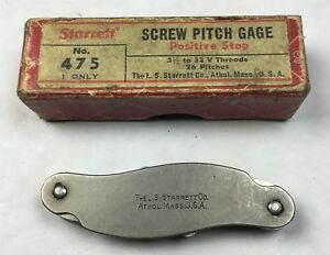Vintage Starrett Screw Pitch Gage No 475 26 Pitches 3 1 2 To 32 V Threads