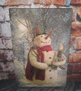 Snowman Lighted Christmas Picture Primitive French Country Farmhouse Decor