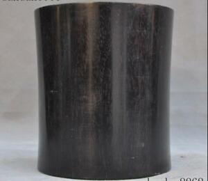 Old China Chinese Famous Precious Ebony Wood Hand Carved Brush Pot Pencil Vase