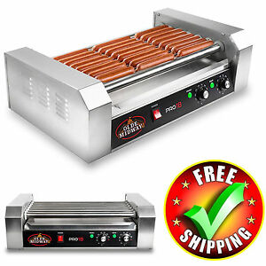 Hot Dog Roller Grill 900w Cooker Machine 18pc Warm Commercial Stainless Steel