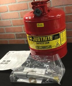 Fuel Safety Can Type Ii Flexible Hose Galvanized Steel Gas Oil 5 Gallon 1 Qty