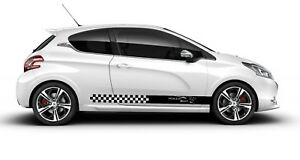 Peugeot 2x Side Stripes Vinyl Body Decals Racing Sticker Graphics High Quality