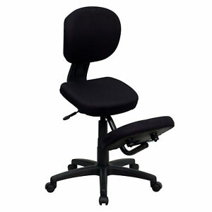 Mobile Ergonomic Kneeling Posture Task Chair In Fabric With Back