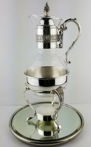 Vintage Silver Plated Footed Glass Hot Water Coffee Tea Carafe Pot And Warmer