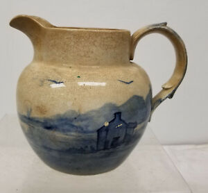 Antique Creamer Pot Ironstone English Blue And White Pitcher