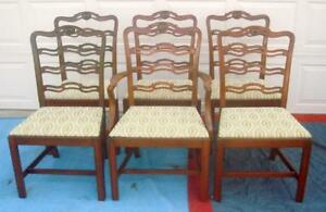 Set Of 6 Chippendale Ribbon Back Cherry Dinning Chairs