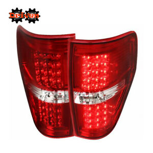 Rear Led Tail Light Lamps Red Housing Red Lens 09 14 Ford F 150 Pick Up Tm