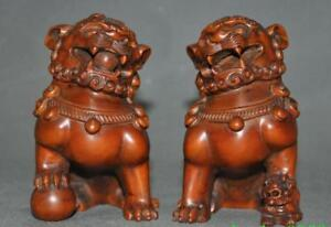 Chinese Boxwood Wood Carving Auspicious Fengshui Lion Beast Foo Dog Animal Pair
