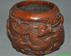 5 Chinese Boxwood Wood Carving Double Dragon Play Beads Pen Wash Ashtray Statue
