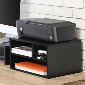 Fitueyes Black Wood Printer Stands With Storage office Workspace Desk Organizers
