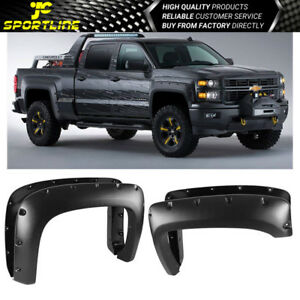 Fits 07 13 Chevy Silverado 1500 Pocket Style Fender Flares Sanded Black Abs