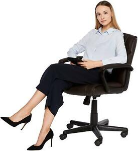 Executive Leather Office Chair Mid Back Computer Desk Ergonomic Padded Seat New
