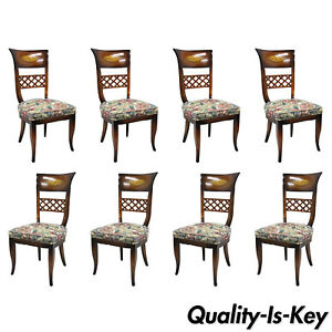 8 Italian Neoclassical Style High Back Lattice Brass Inlay Dining Chairs
