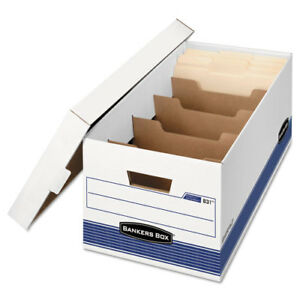 Stor file Extra Strength Storage Box Letter Locking Lid White blue