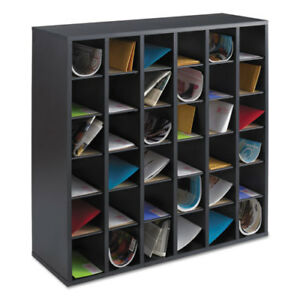 Wood Mail Sorter With Adjustable Dividers Stackable 36 Compartments Black
