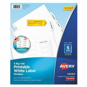 Big Tab Printable White Label Tab Dividers 5 tab Letter 20 Per Pack