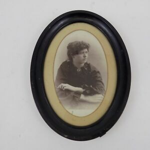 Antique Vintage Portrait Of Woman In Oval Frame Black 1940s 7 1 2 X 5 1 2