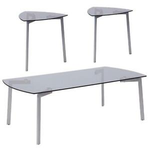 Brighton Collection 3 Piece Coffee And Triangular End Table Set With Smoked