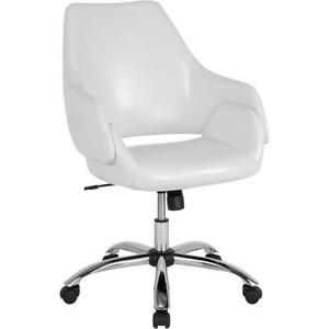 Madrid Home And Office Upholstered Mid back Chair In White Leather