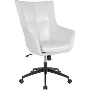 Barcelona Home And Office Upholstered High Back Chair In White Leather