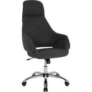 Marbella Home And Office Upholstered High Back Chair In Black Fabric