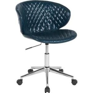 Cambridge Home And Office Upholstered Mid back Chair In Blue Vinyl