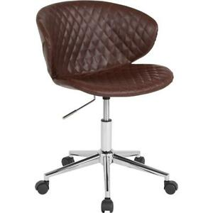 Cambridge Home And Office Upholstered Mid back Chair In Brown Vinyl