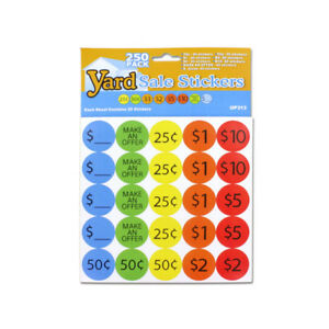Set Of 24 Bulk Lot Yard Garage Sale Retail Price Stickers 250pc Packs