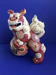Old Japan Kutani Moriage Fu Dog Foo Lion Porcelain Statue H 11in
