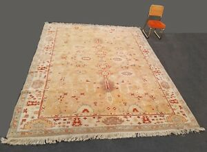 Vintage Hand Knotted Oushak Turkish Large Area Rug 10 X13