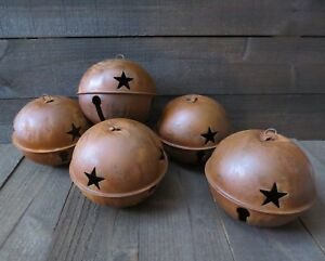 5pc Lot Huge 7 Inch Rusty Jingle Bell Primitive Decor Rustic Country Star Rusted