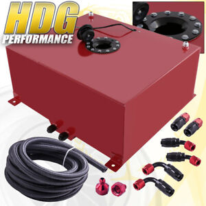 Aluminum Fuel Cell Gas Tank 21 Gallon 80 Liters Red Black Cap Oil Feed Line
