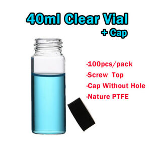 100pcs 40ml 24 400 Small Glass Bottles Vials Glass Test Tube With Screw Top Cap