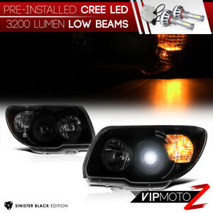 Cree Led Bulb Installed 06 09 Toyota 4runner Black Smoked Replacement Headlight