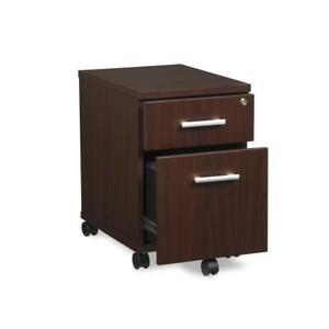 Fulcrum Series Locking Pedestal Mobile 2 drawer Filing Cabinet Mahogany