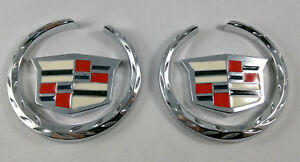 2x 3d Emblem Wreathcrest Sticker Chrome Badge Logo For Cadillac Escalde Ats Cts