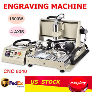 4 Axis 1 5kw 6040 Cnc Router Engraver Engraving Milling Cutting Carving Machine