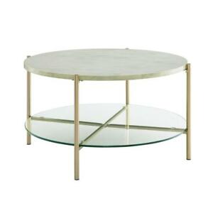 32 White Faux Marble Round Coffee Table With Glass Shelf Gold