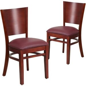 2 Pk Lacey Series Solid Back Mahogany Wooden Restaurant Chair Burgundy