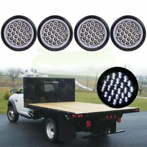 Set 4 4 Inch Round 24 Led Tail Light Reverse Backup Lamp White For Truck Trailer
