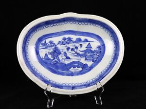 Antique Chinese 19th Century Blue And White Kidney Shaped Dish Willow Nanking