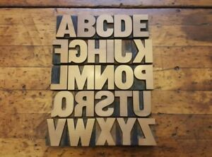1 5 8 Vintage Letterpress Wood Type Print Block Full Matching Alphabet 26 Pcs